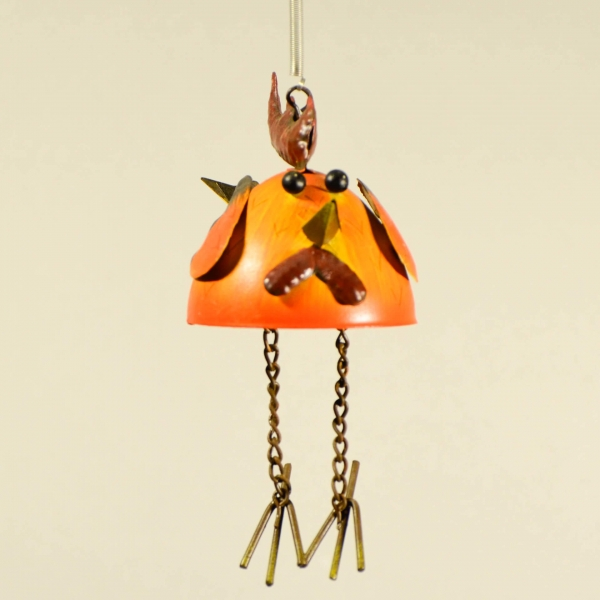Μεταλλικό πορτοκαλί πουλί με ελατήριο-0