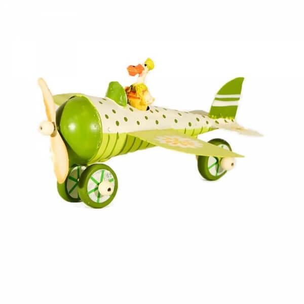 μινιατούρα-μεταλλικό-πράσινο-αεροπλάνο-14cm-giftland