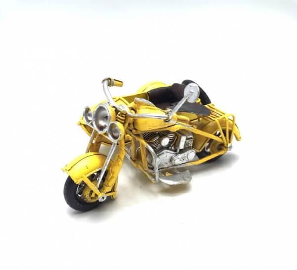 Vintage Μεταλλική Κίτρινη Μηχανή με Καλάθι 11cm-0