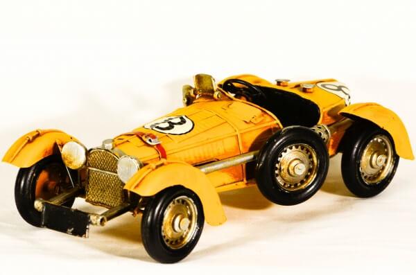 Vintage κίτρινο μεταλλικό διακοσμητικό αγωνιστικό αυτοκίνητο κούρσα 28cm-0