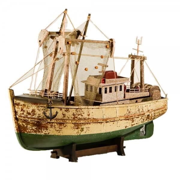 ξύλινο-διακοσμητικό-παλαιωμένο-καράβι-καίκι-με-δίχτυα-45cm-giftland