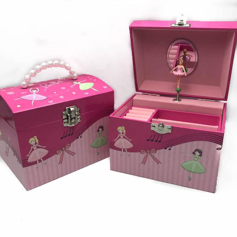 Μουσικό κουτί μπιζουτιέρα μπαλαρίνα με χερούλι-0