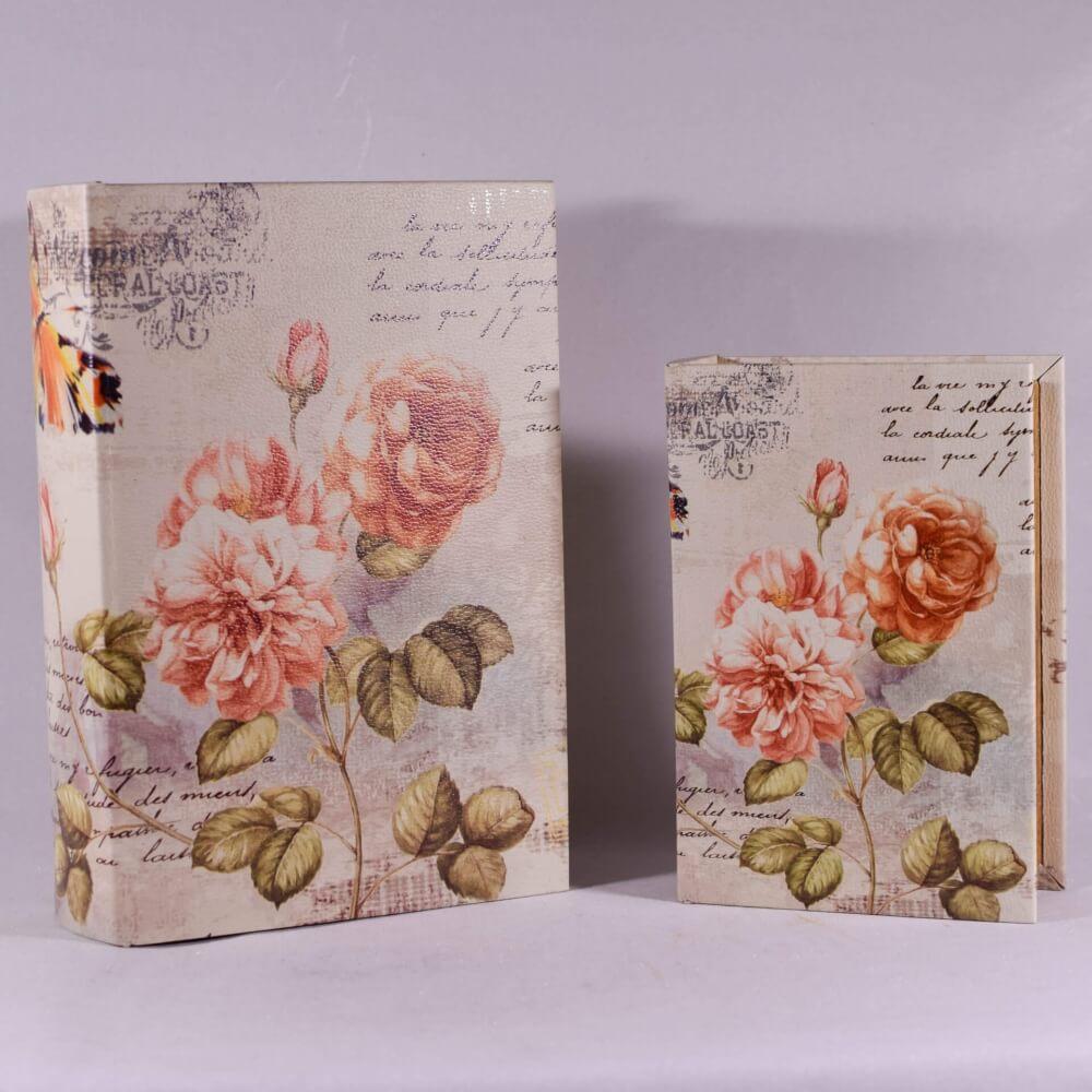 Βιβλίο Κουτί Σετ των 2 με Λουλούδια 27cm-14232