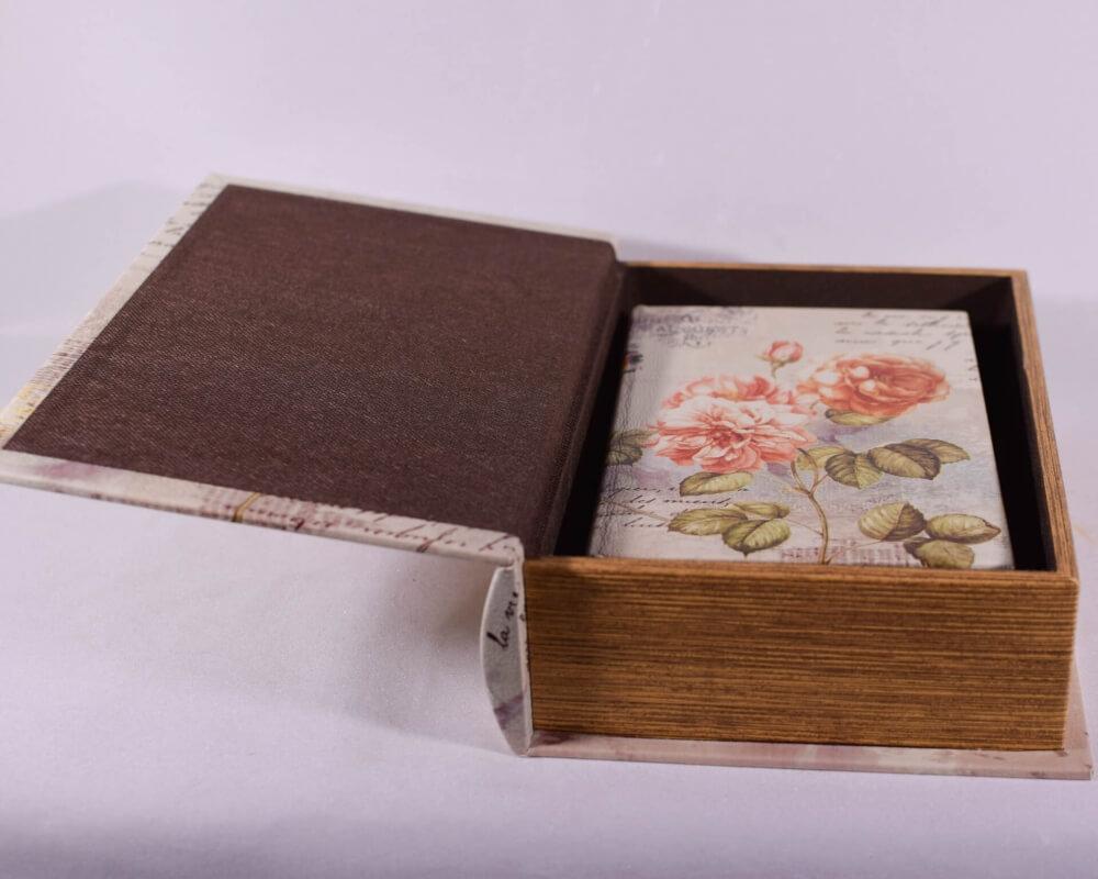 Βιβλίο Κουτί Σετ των 2 με Λουλούδια 27cm-14230