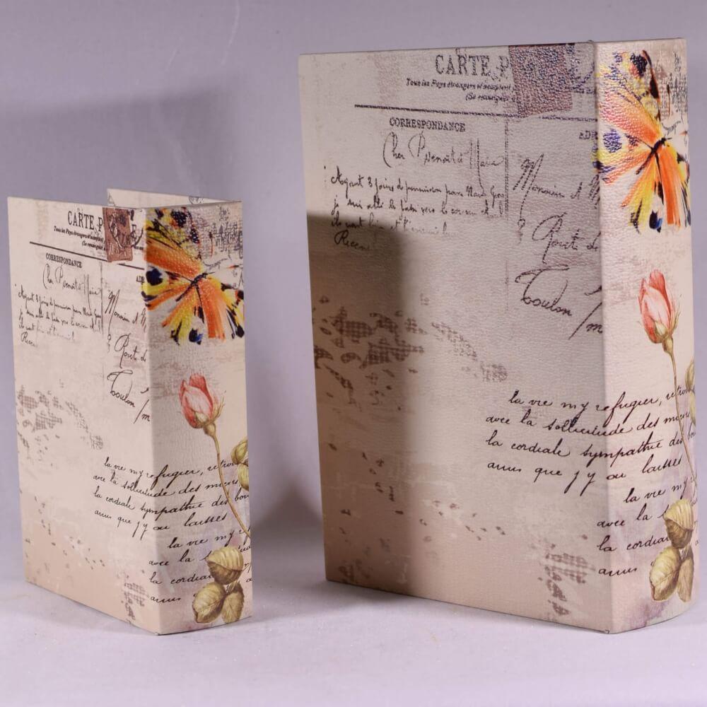 Βιβλίο Κουτί Σετ των 2 με Λουλούδια 27cm-14231