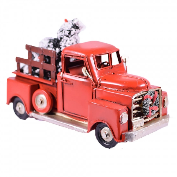 Vintage-Μεταλλικό-Κόκκινο-Φορτηγάκι-Έλατο-16-Giftland