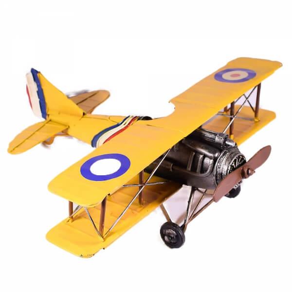 μινιατούρα-vintage-ρετρό-κίτρινο-αεροπλάνο-28cm-giftland