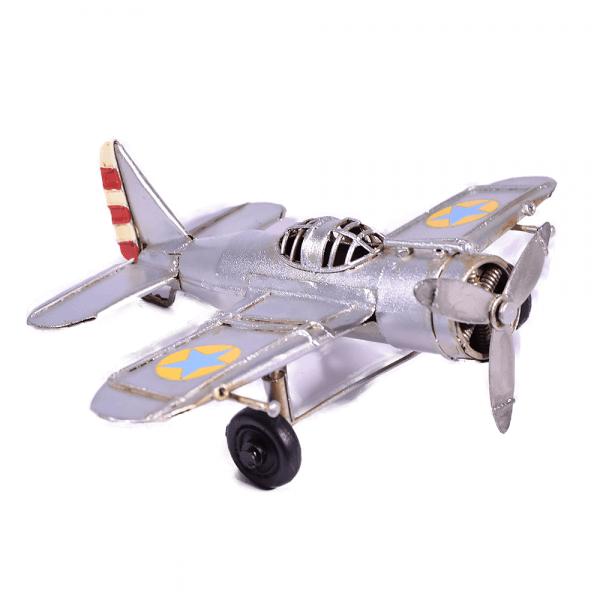 μινιατούρα-vintage-μεταλλικό-ασημί-αεροπλάνο-16,5cm-giftland