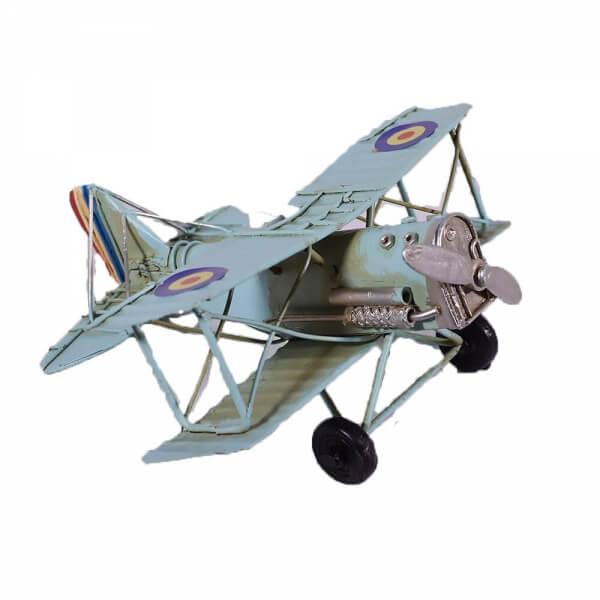 μινιατούρα-vintage-γαλάζιο-αεροπλάνο-διπλάνο-16cm-giftland