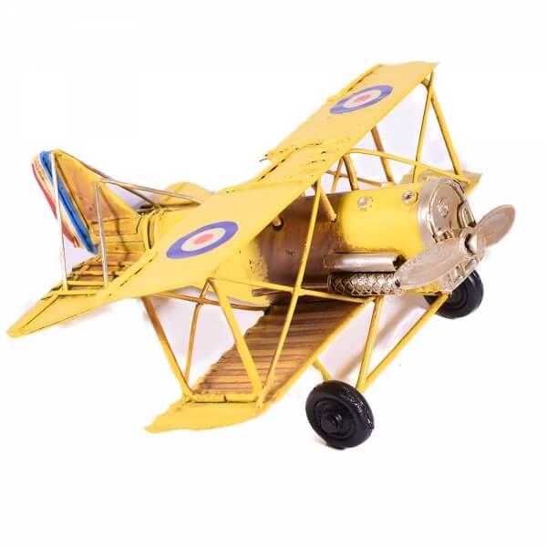 μινιατούρα-vintage-κίτρινο-αεροπλάνο-διπλάνο-16cm-giftland