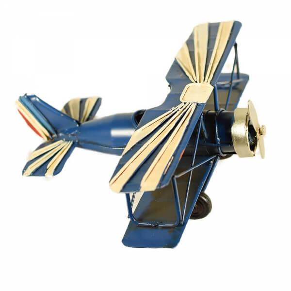 μινιατούρα-vintage-μπλε-άσπρο-αεροπλάνο-διπλάνο-16cm-giftland