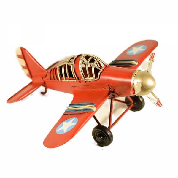 μινιατούρα-vintage-μεταλλικό-κόκκινο-αεροπλάνο-16cm-giftland