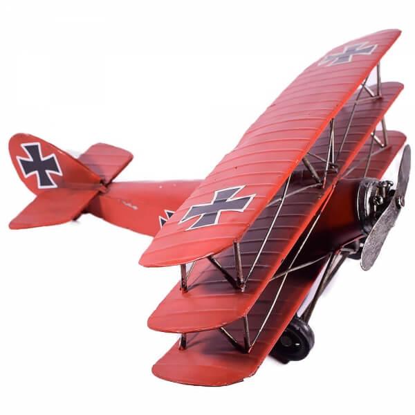 μινιατούρα-vintage-ρετρό-κόκκινο-αεροπλάνο-35cm-giftland
