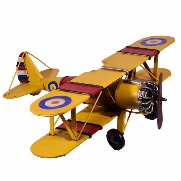 μινιατούρα-ρετρό-μεταλλικό-κίτρινο-αεροπλάνο-45cm-giftland